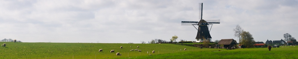 panorama holandia wiatrak