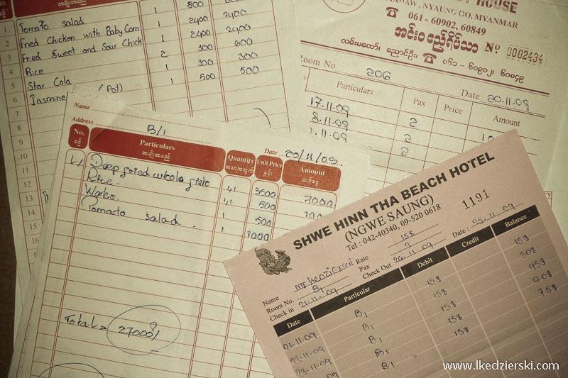 birma informacje praktyczne rachunki