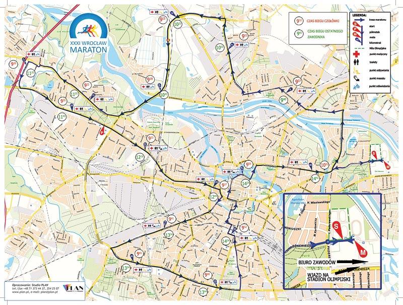 xxxi trasa wrocław maratonu