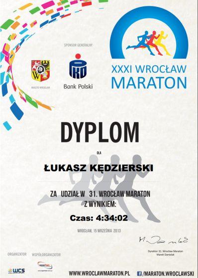 xxxi wrocław maraton certyfikat