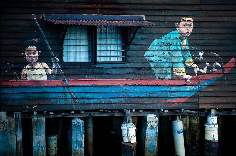 mural Children in a Boat