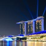 Bajeczny Singapur po zachodzie słońca