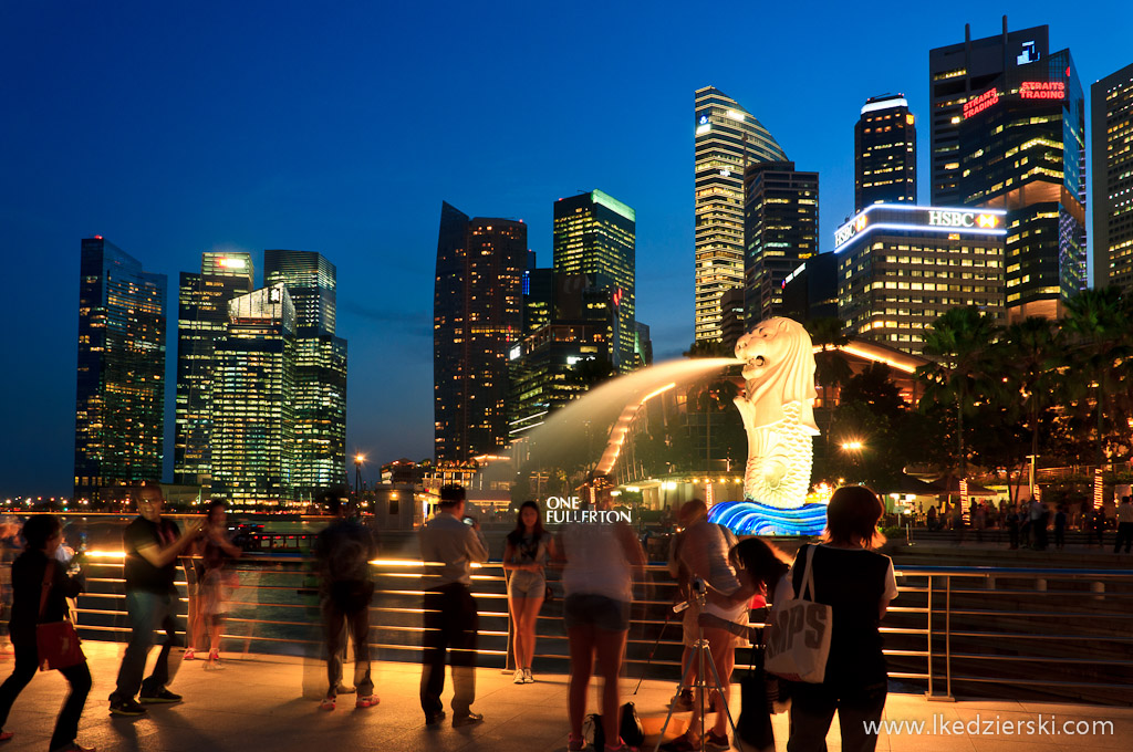 singapur by night merlion