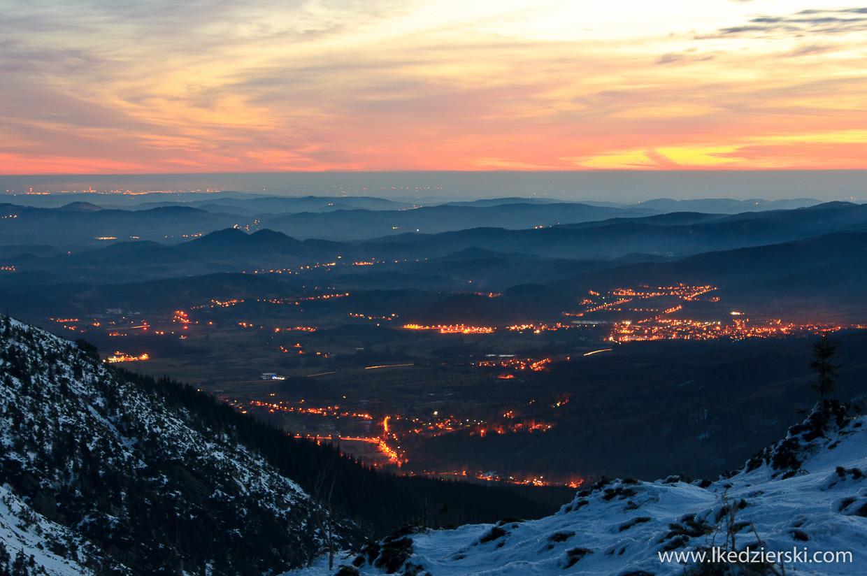 zimowe karkonosze śnieżka sunrise