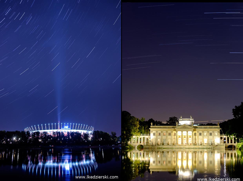 Warszawa. Startrails - PGE Narodowy oraz Łazienki Królewskie - Pałac na wodzie.