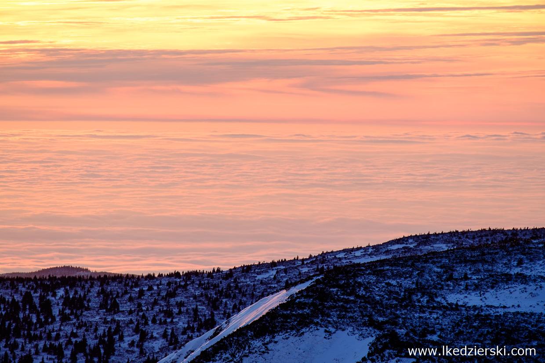 karkonosze zachód słońca sunset zachód słońca w karkonoszach