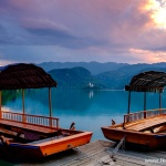 Zachód słońca nad jeziorem Bled