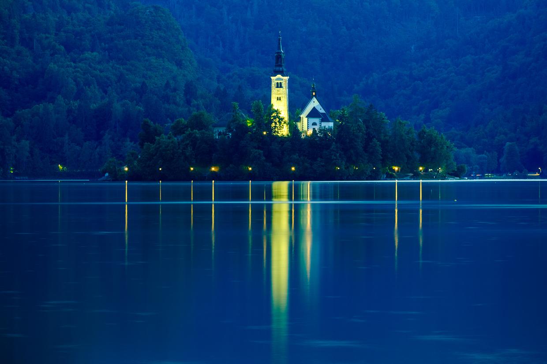 słowenia bled sunset blejski otok