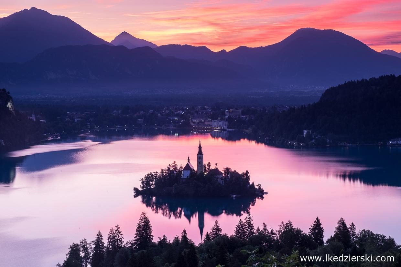 słowenia jezioro bled wschód słońca sunrise