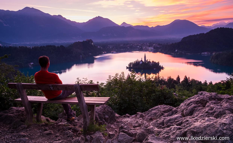 słowenia jezioro bled sunrise wschód słońca