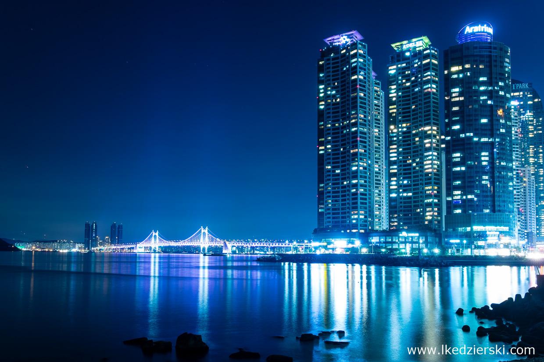 korea południowa nocne zdjęcia busan Gwangandaegyo Bridge 부산 광안대교