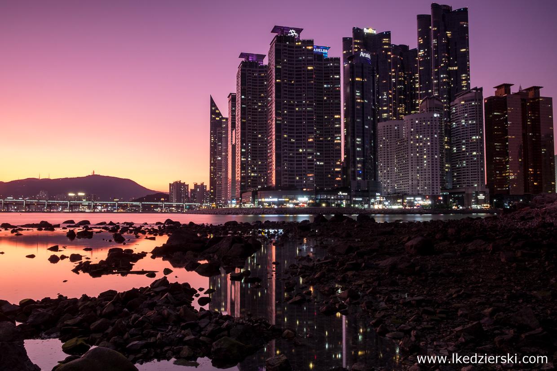 korea południowa nocne zdjęcia Dongbaekseom Island (동백섬) w Busan