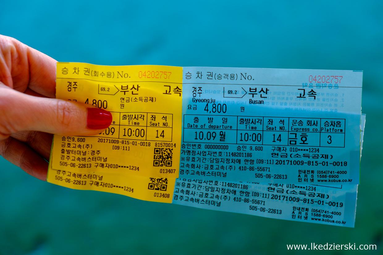 korea południowa transport bilet na autobus