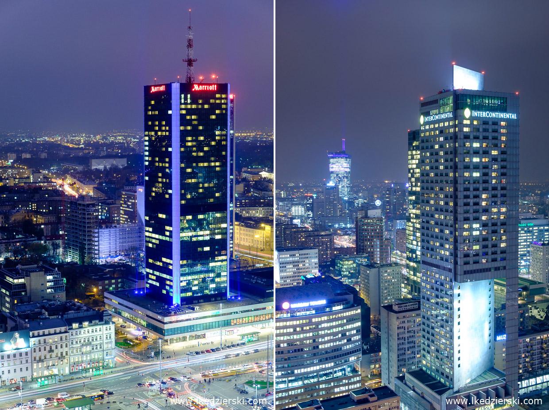 warszawa nocne zdjęcia zachód słońca Hotel InterContinental Warszawa Złota 44 Hotel marriott