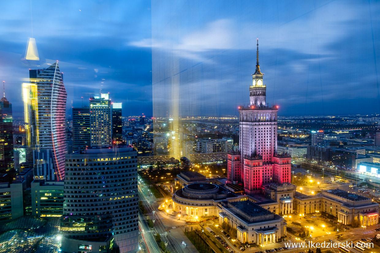 warszawa nocne zdjęcia zachód słońca pkin Pałac Kultury i Nauki złota 44 Hotel InterContinental Warszawa