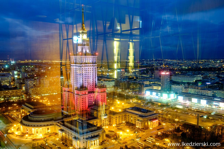 warszawa nocne zdjęcia zachód słońca pkin Pałac Kultury i Nauki złota 44