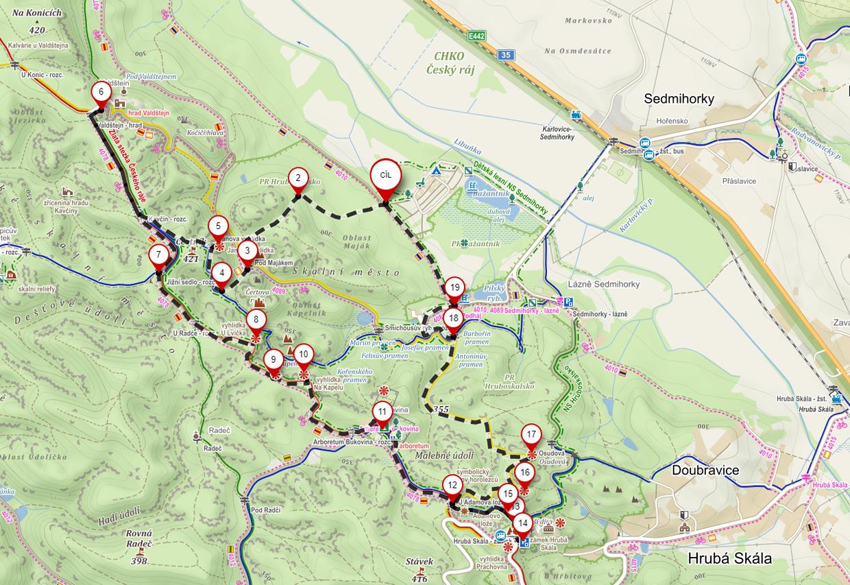 czeski raj hruboskalsko szlaki mapa szlaki czeski raj