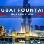Dubai Fountain i Burj Khalifa na nocnych zdjęciach